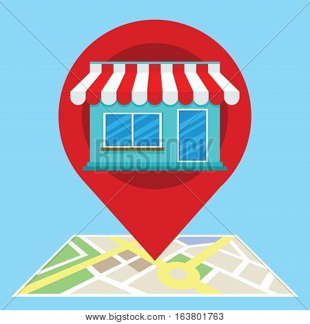 local search marketing ecommerce with shop vector illustration