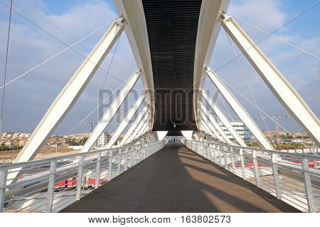BEER SHEVA ISRAEL - DECEMBER 24 2016: Footbridge in the new High-Tech Park in Beer Sheva. Architectural style of high-tech