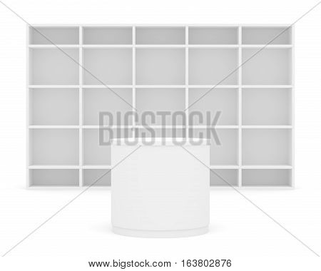 White POS POI cylinder with shelves as backdrop. 3D illustration