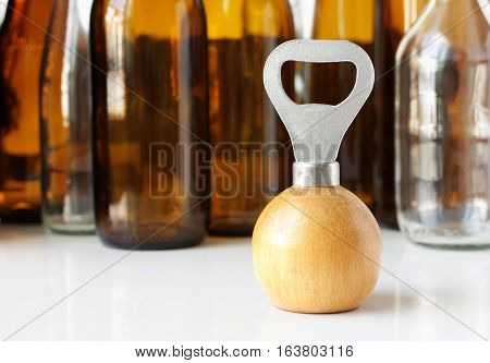 Bottle Opener with wooden shere shape handle