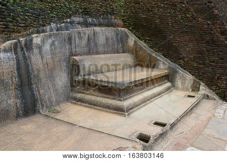 Royal Stone Throne on the top of the Sigiriya rock Sri Lanka