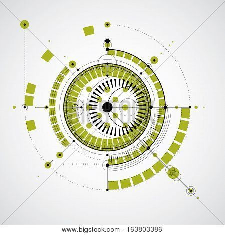 Technical drawing made using dashed lines and geometric circles. Vector backdrop created in communications technology style engine design.