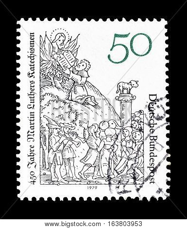 GERMANY - CIRCA 1979 : Cancelled postage stamp printed by Germany, that shows Martin Luthers catechism.