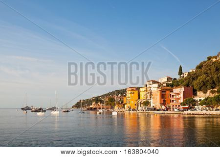 Villefranche-sur-Mer town with some boats Cote d'Azur France