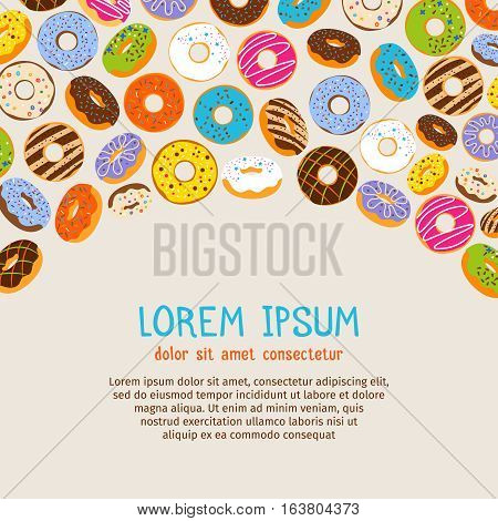Chocolate and pink frosting and caramel topping doughnut poster template. Vector donuts background with text. Banner and poster with tasty glazed donuts illustration