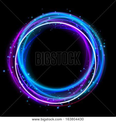 Glowing circle light effect. Nightclub lights halo ring. Glow effect design to party. Vector illustration