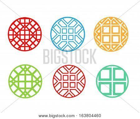 Modern round Korean pattern window frame vector design