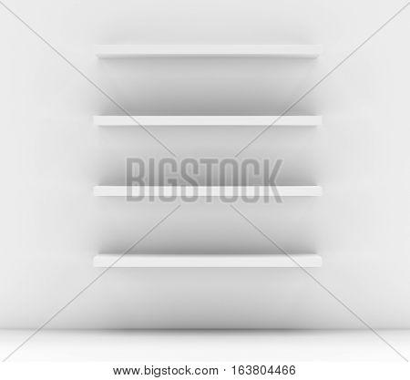 Empty white shop shelf, retail shelves. 3D illustration