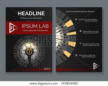 Security system business brochure. Cyber secure vector posters with padlock. Ilustration of banner template protection style