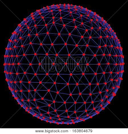 Illuminated neon sphere of glowing particles. 3D illustration