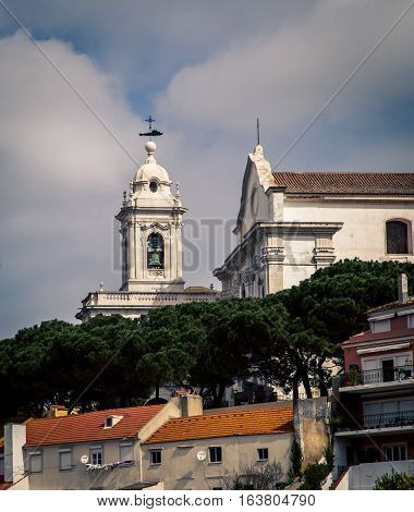 Church on a hill in the city of Lisbon