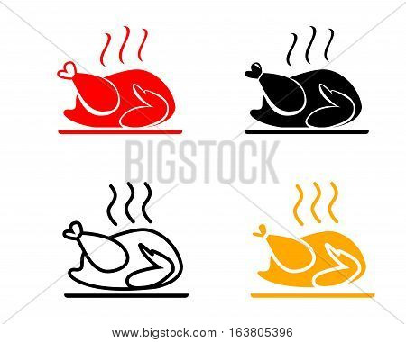 Set of Roasted chicken icons vector design