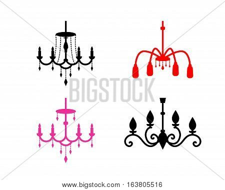 Set of chandelier icons in silhouette style vector design