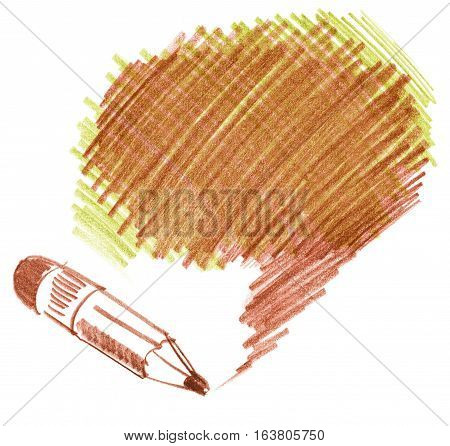 Pencil shading. Hand-drawn. Doodle. Isolated on white background
