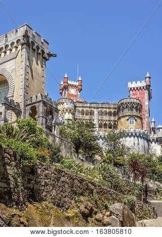 Pena Palace - Palace in Portugal located on a high cliff above Sintra and offers a fantastic pseudomedieval style.