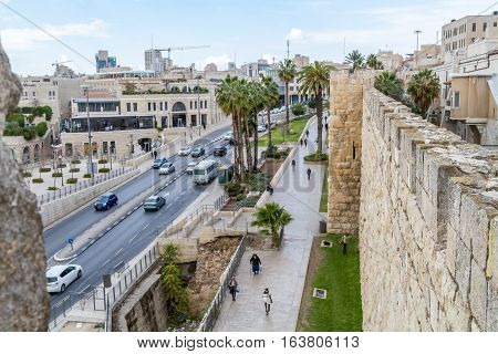 JERUSALEM ISRAEL - DECEMBER 8: Cityscape of Jerusalem view from wall of the Old City in Jerusalem Israel on December 8 2016