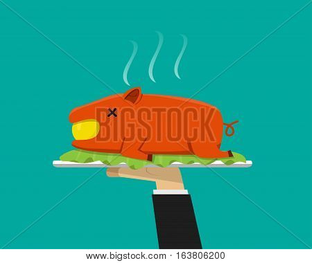 Waiter hand serving grilled suckling pig on plate vector
