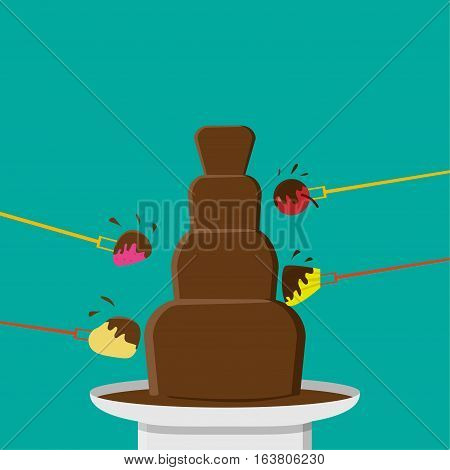 Chocolate Fondue party in flat style vector design
