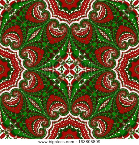 Christmas pattern. Green red and white colors.