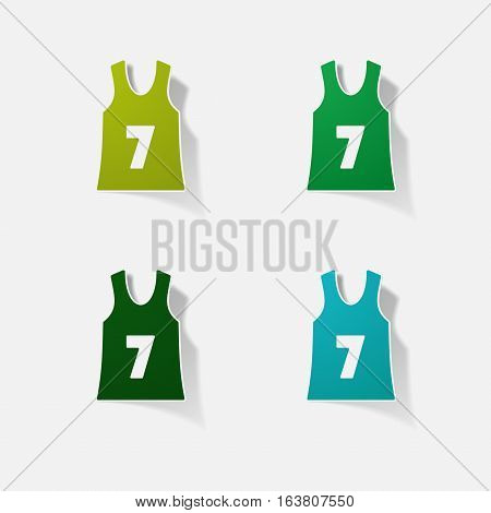Sticker paper products realistic element design illustration basketball shirt