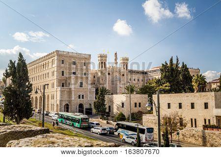 JERUSALEM ISRAEL - DECEMBER 8: View of the Notre Dame de Jerusalem Notre Dame de France - Catholic monastery and guesthouse in Jerusalem Israel on December 8 2016