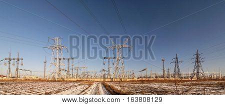 High voltage substation - winter landscape (power supply ukrainian oblenergo sale)