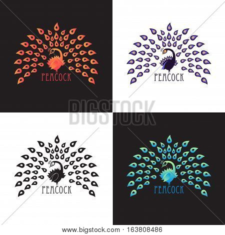 Illustration peacock logo design set. Vector abstract logo of colored bird peacock with crown on background. Template for icon logo print tattoo. Peacock tail open. Front view