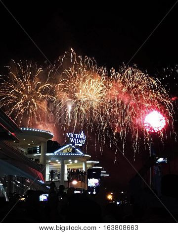 New Years Day Fireworks  Display at the V and A waterfront Capetown South Africa