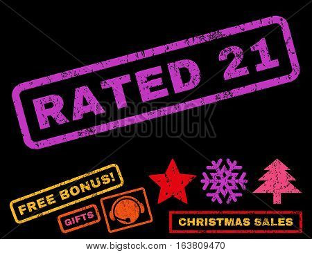 Rated 21 text rubber seal stamp watermark with additional bonus new year symbols. Tag inside rectangular shape with grunge design and unclean texture.