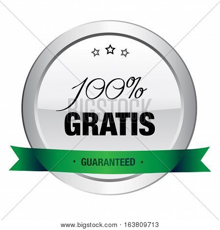 100% gratis seal or icon. Silver seal or button with stars and green banner.
