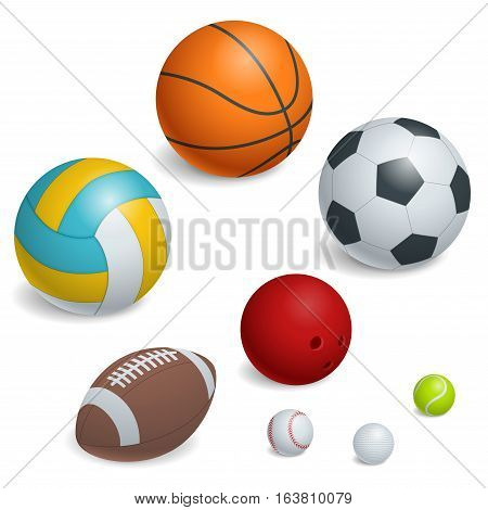 Isometric Sports Balls Set. Illustration of a set of popular sports balls and bowls equipment, for football, soccer, rugby, tennis, volleyball, basketball, baseball and bowling.