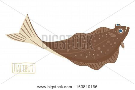 Brown Halibut vector Illustration flat cartoon style
