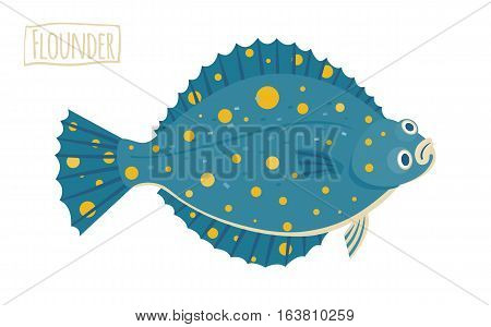 Blue flounder with yellow spots vector Illustration flat cartoon style