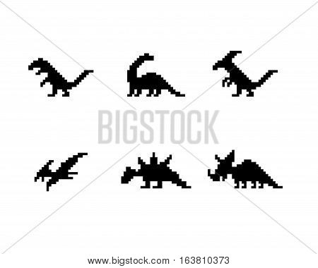 Set of dinosaur icons in silhouette pixel style vector