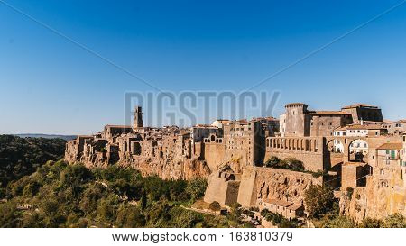 Pitigliano is a country of Etruscan origin built on a tufa rock Italy.