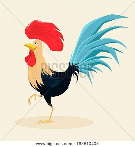 Proud rooster with beautiful lush blue tail and red crest. Symbol of New Year 2017. Cute cartoon cock. Vector illustration