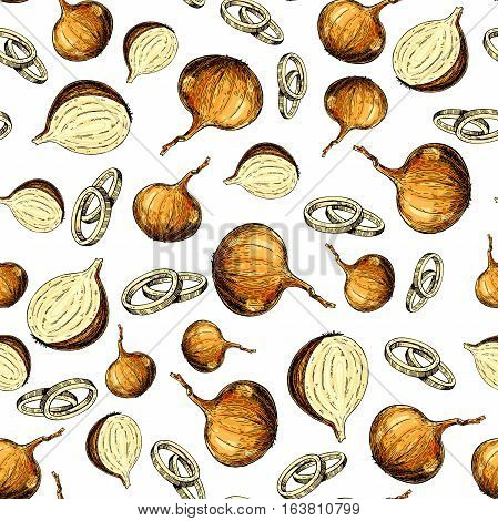 Onion hand drawn vector seamless pattern. Isolated Vegetable artistic style background. Full, rings and Half cutout slice. Detailed vegetarian food drawing. Farm market product. Great for menu, label, icon