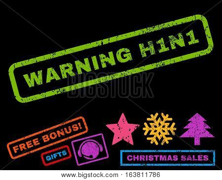 Warning H1N1 text rubber seal stamp watermark with additional bonus new year symbols. Caption inside rectangular banner with grunge design and unclean texture.