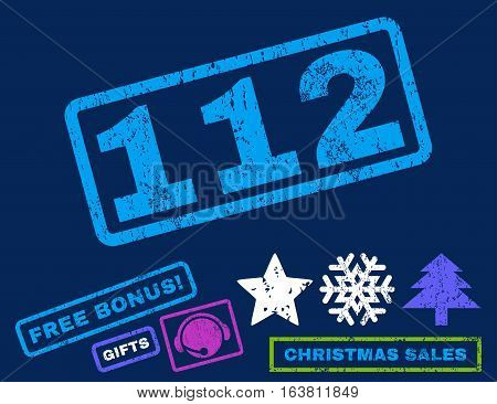 112 text rubber seal stamp watermark with bonus new year symbols. Tag inside rectangular banner with grunge design and dust texture. Slanted vector bright multicolored ink emblem on a blue background.