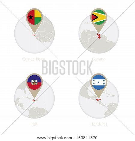 Guinea-bissau, Guyana, Haiti, Honduras Map And Flag In Circle.