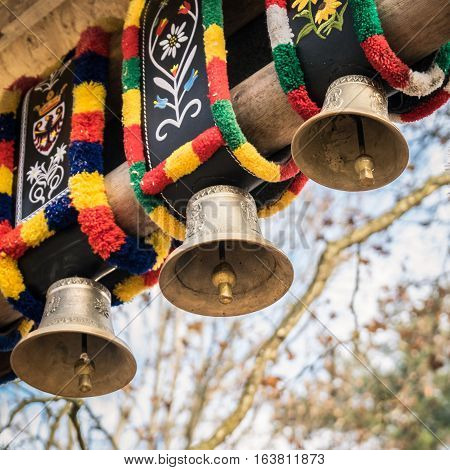 Traditional cow bells in a village festival in Trento Italy.