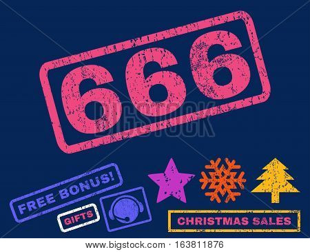 666 text rubber seal stamp watermark with additional bonus christmas symbols. Caption inside rectangular shape with grunge design and dirty texture.
