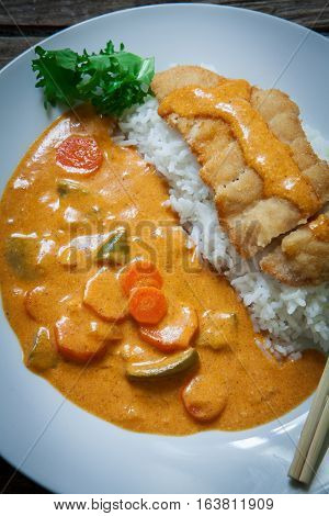 Chicken Katsu Kare japanese curry meat and vegetables