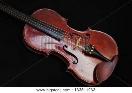 Wooden brown fiddle classical instrument music horizontal