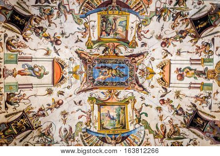 Fresco painting, ceiling fresco in palazzo in Florence Italy