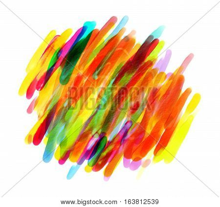 Colorful spots with a brush. Blank colorful blotch. Hand drawn. Isolated on white background