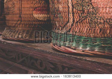 Chinese Antique Wedding Baskets, Wicker Or Wood Splint Baskets.