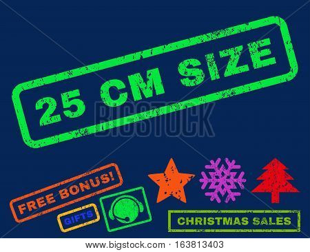 25 cm Size text rubber seal stamp watermark with bonus christmas symbols. Tag inside rectangular shape with grunge design and dust texture.