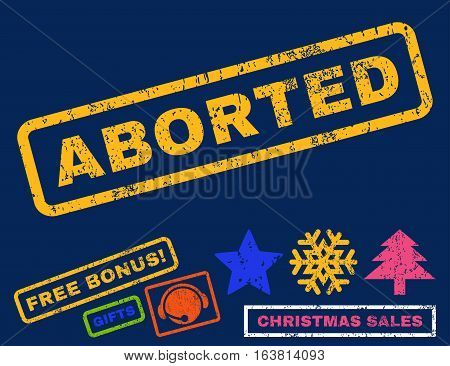 Aborted text rubber seal stamp watermark with bonus christmas symbols. Tag inside rectangular banner with grunge design and unclean texture.