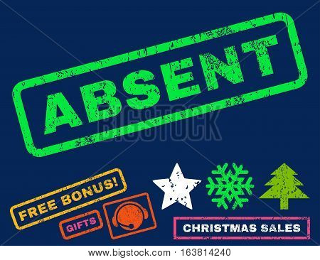 Absent text rubber seal stamp watermark with bonus new year symbols. Tag inside rectangular banner with grunge design and dirty texture.